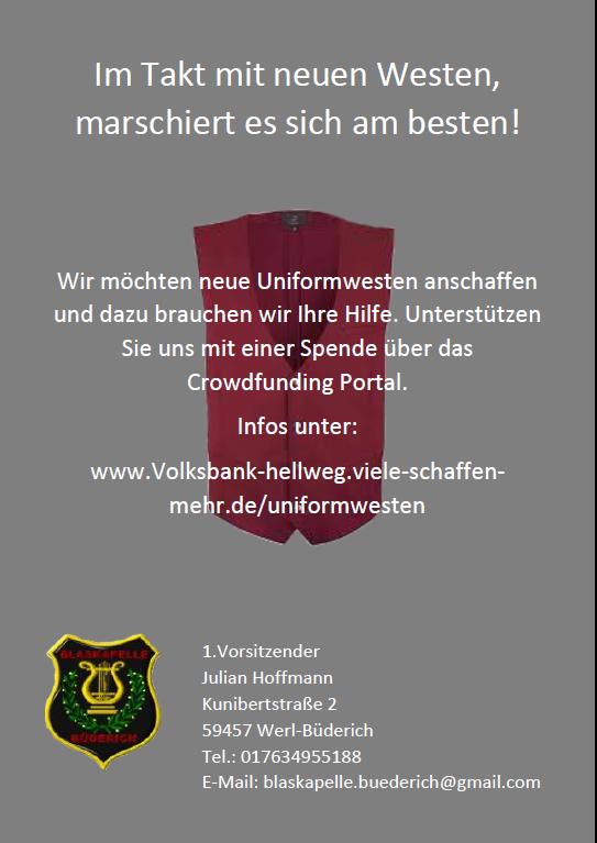 Flyer Blaskappelle Büderich - Crowdfounding