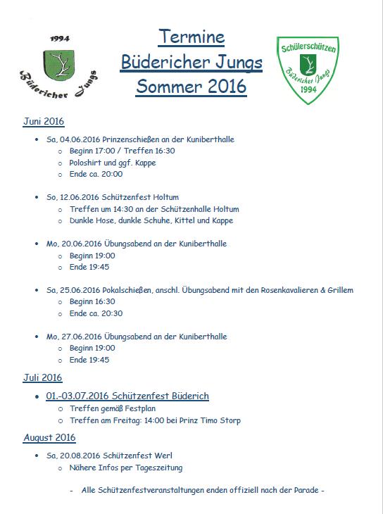 Termine Schülerschützen Sommer 2016