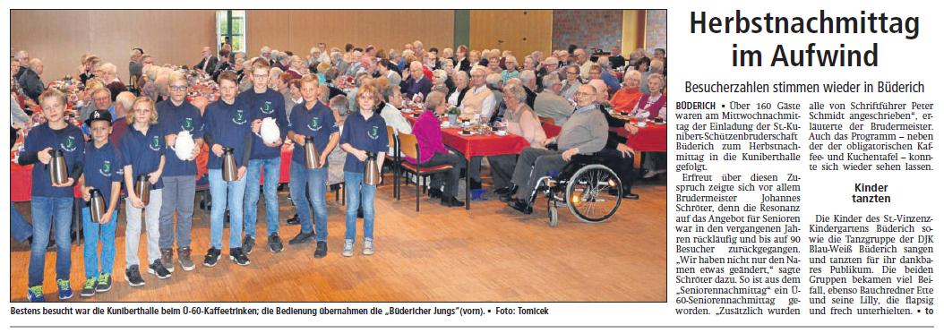 Büdericher Herbstnachmittag 2016 (Quelle: Soester Anzeiger vom 11.11.2016)