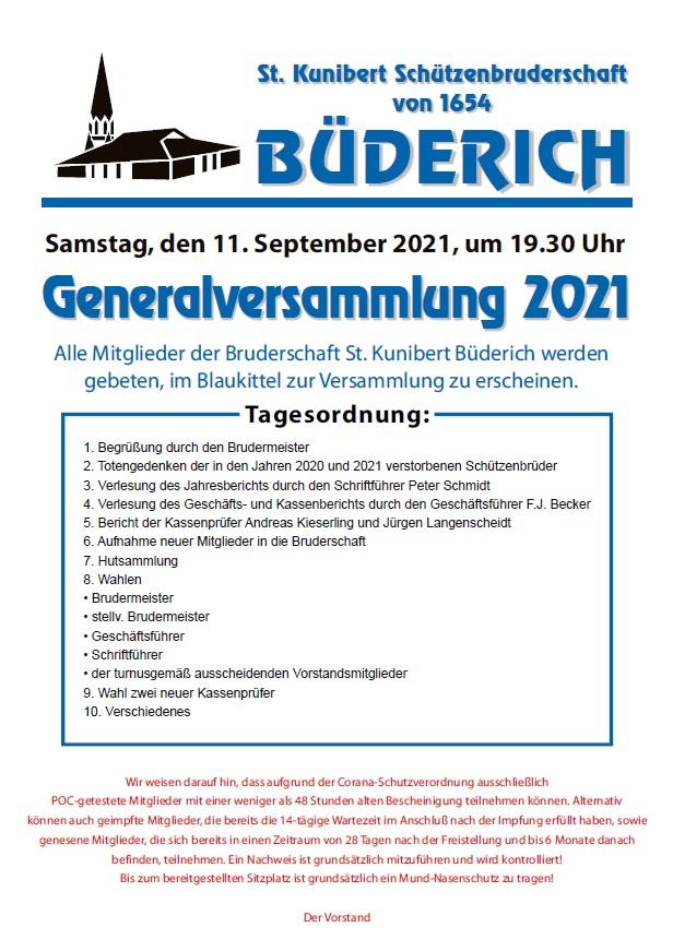 Generalversammlung am 11. September 2021 mit Blaukittel